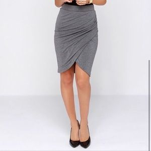 Zara Charcoal Gray Ruched Tulip Skirt Size S